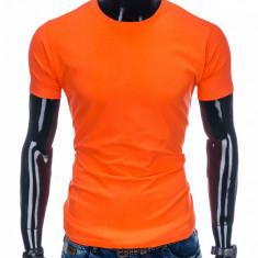 Tricou barbati portocaliu simplu slim fit mulat pe corp bumbac S884
