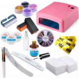 Kit Unghii False Gel Lampa UV, Sclipici Set Manichiura Tipsuri, Pensule, Buffer
