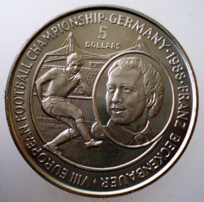 5.346 NIUE FRANZ BECKENBAUER FOTBAL 5 DOLLARS 1988 AUNC 38mm 50000ex. CERTIFICAT foto