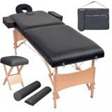 Cumpara ieftin Set taburet și masă masaj pliabilă 2 zone, 10 cm grosime, negru