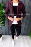 Cardigan barbati grena - hanorac barbati - hanorac slim fit - cod A2871