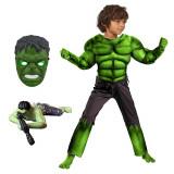 Set costum carnaval Hulk cu muschi pentru copii, War, 120 -130 cm, 7 - 9 ani si figurina plastic