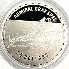 INSULELE SOLOMON 25 DOLLARS 2006 PROOF,(FIGHTING SHIPS-ADMIRAL GRAF SPEE).AG.999