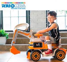 Excavator pentru copii de la 2 la 7 ani, electric, cu telecomandă, Victronic foto