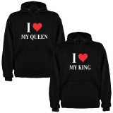 Set 2 Hanorace cuplu I love My King si I love My Queen, negru/alb