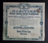 Actiune la purtator Soc. Maritima - Braila - 1919 - Titlu - Actiuni