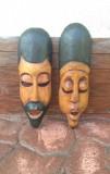 # 2 Arta Africana - Set Masca din lemn de esenta usoara !!!