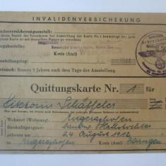 Rară! Asigurare de invaliditate Germania nazista 22 noiembrie 1944