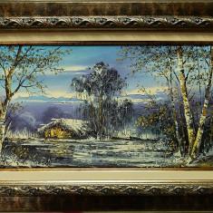 Peisaj de iarna cu mesteceni, pictura originala semnata Ion VOINEAGU, Peisaje, Ulei, Impresionism