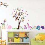 Cumpara ieftin Sticker decorativ gigant Happy Jungle autocolant de perete pentru camera copii, 90x60cm, set 2 coli