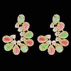 Cercei placati cu Aur 18K si Diamante, Coral