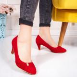 Pantofi cu toc dama rosii Natisia