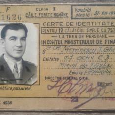 Carte de identitate CFR// Clasa I, 1947, ofiter activ
