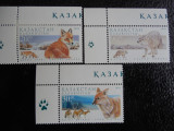 Serie timbre fauna animale vulpi nestampilate Kazahstan filatelice postale