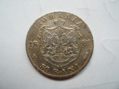 ROMANIA - 50 BANI 1881, Ag835 , CAROL I , L7.25 foto