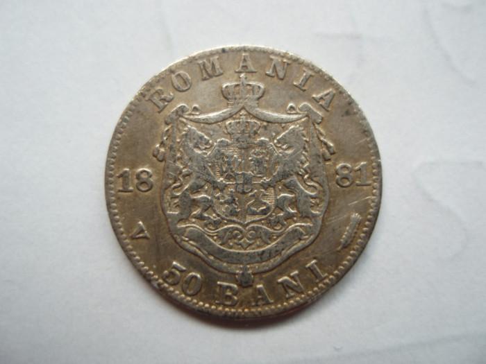 ROMANIA - 50 BANI 1881, Ag835 , CAROL I , L7.25