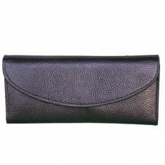 Portofel elegant de dama cu suport detasabil de bancnote si carduri, negru