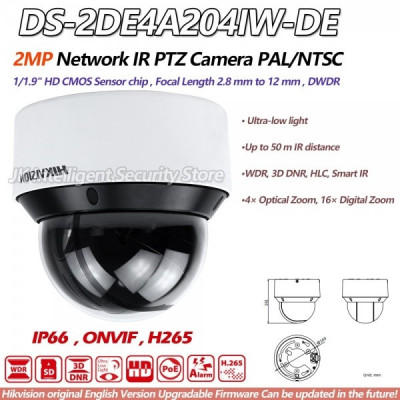 Camera supraveghere mini speed dome POE Hikvision 2MP tehnologie IP DS-2DE4A204IW-DE IR50m 4 x zoom optic 16x zoom digital foto