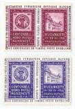 România, lot 48 cu 2 timbre fiscale Centenarul mărcii poștale românești, MNH, Nestampilat