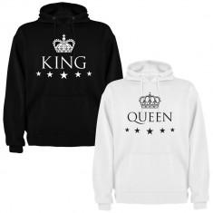 Set 2 Hanorace cuplu King si Queen, negru+alb