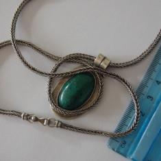 Latisor si pandant argint cu malachit -8027