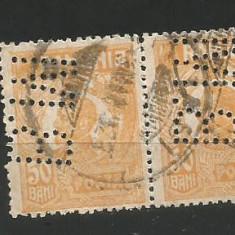 No(08)timbre-Romania 1919-L.P.73-UZUALE FERDINAND-perfin M.B- 50 bani
