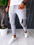Pantaloni VAGABOND - de trening pentru barbati - slim fit - gri - A6323