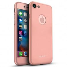 Husa Apple iPhone 7 Flippy Full Cover 360 Roz Auriu + Folie Cadou, Carcasa