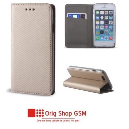 "Husa Flip Carte Smart Universal 4,5"" - 5,0"" inch Gold"
