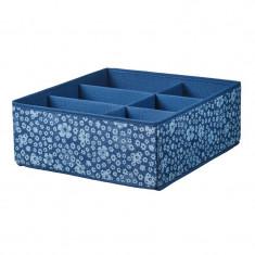 Cutie tip organizator, 37 x 40 x 15 cm, 6 compartimente, Albastru/Alb