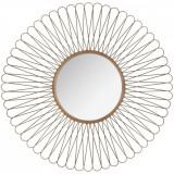 Oglinda decorativa The Sun, bucle, din metal, aurie, diametru 76cm