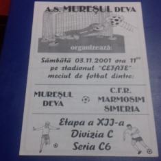 program      Muresul  Deva   -  CFR  M. Simeria