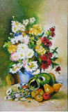 Tablou / Pictura flori si fructe semnat Cimpoesu