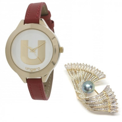 Ceas Ungaro Confetti Red Brosa Golden Fan foto