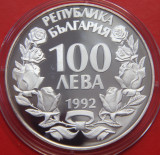 Bulgaria 100 Leva 1992 Proof argint 23.23g Design Unic KM# 226, Europa