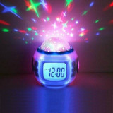 Lampa veghe ceas digital luminos cu stelute calendar alarma LED cu 11 melodii, Alb