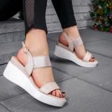 Sandale dama cu platforma bej Selinia