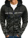 Cumpara ieftin Bluză pentru bărbat cu glugă și fermoar camuflaj-grafit Bolf DD86