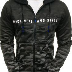 Bluză pentru bărbat cu glugă și fermoar camuflaj-grafit Bolf DD86