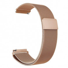 Curea metalica compatibila Smartwatch 22mm, telescoape Quick Release, Milanese Loop, Rose gold