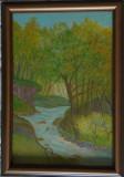 "Tablou in ulei peisaj ""Izvorul din padure""20x30 cm, rama din lemn"