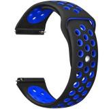 Cumpara ieftin Curea ceas Smartwatch Samsung Gear S3, iUni 22 mm Silicon Sport Black-Blue