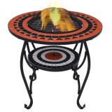 Masă cu vatră de foc, mozaic, cărămiziu și alb, 68 cm, ceramică