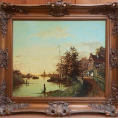 Scena de gen - B. Muller, Peisaje, Ulei, Realism