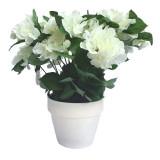 Cumpara ieftin Hortensie Artificiala decorativa, Alba cu frunze Verzi in ghiveci Alb, pentru interior sau exterior, rezistente la Umiditate, D floare 37 cm