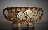 Jardiniera mare din majolica ceramica smaltuita - decor floral / cca. 1900