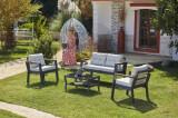 Cumpara ieftin Set mobilier gradina / terasa Daphne Gri deschis / Antracit, 2 fotolii + canapea 2 locuri + masa de cafea