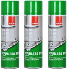 3 x Sano inox, Spray pentru curatarea suprafetelor de inox, 3 x 500ml