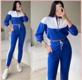 Cumpara ieftin Trening dama lung albastru cu alb cu pantaloni lungi si bluza cu maneca lunga fashion