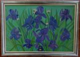 """Tablou unicat in ulei pe panza """"IRISI"""", rama din lemn, 67x47 cm, Flori, Altul"""